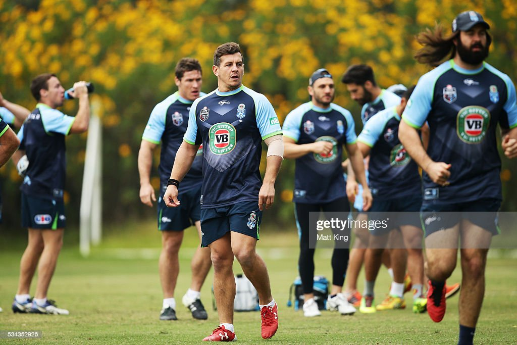 <a gi-track='captionPersonalityLinkClicked' href=/galleries/search?phrase=Greg+Bird+-+Rugbyer&family=editorial&specificpeople=14983686 ng-click='$event.stopPropagation()'>Greg Bird</a> of the Blues looks on during a New South Wales State of Origin media opportunity on May 26, 2016 in Coffs Harbour, Australia.