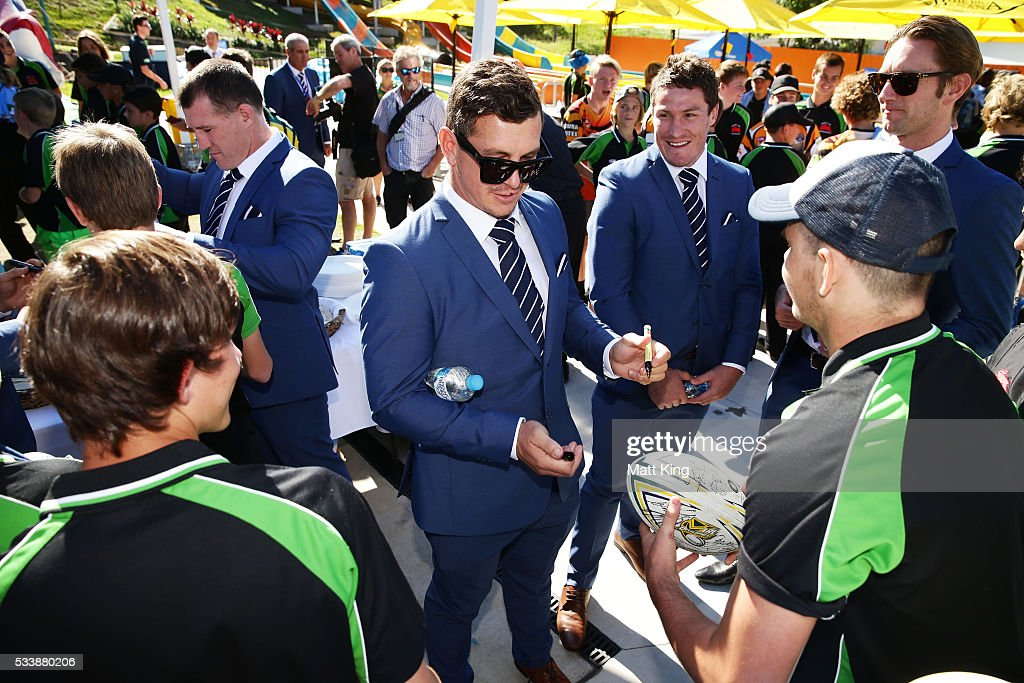 Greg Bird of the Blues signs autographs for young rugby league players during a New South Wales Blues NRL State of Origin Welcome Session at The Big Banana on May 24, 2016 in Coffs Harbour, Australia.