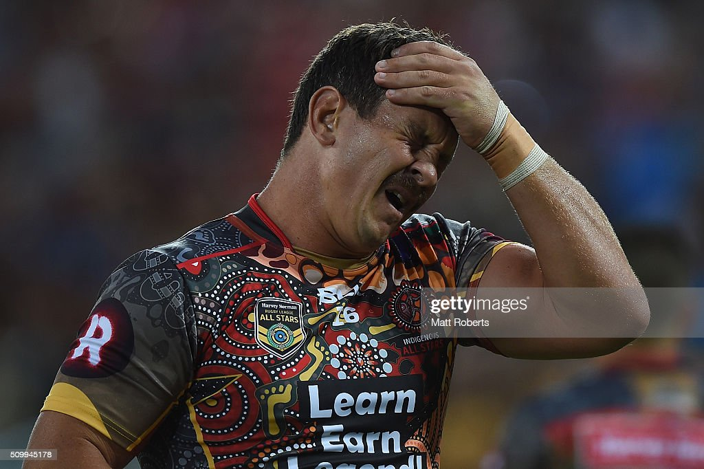 <a gi-track='captionPersonalityLinkClicked' href=/galleries/search?phrase=Greg+Bird+-+Rugby+Player&family=editorial&specificpeople=14983686 ng-click='$event.stopPropagation()'>Greg Bird</a> of the Indigenous All Stars holds his head before the NRL match between the Indigenous All-Stars and the World All-Stars at Suncorp Stadium on February 13, 2016 in Brisbane, Australia.