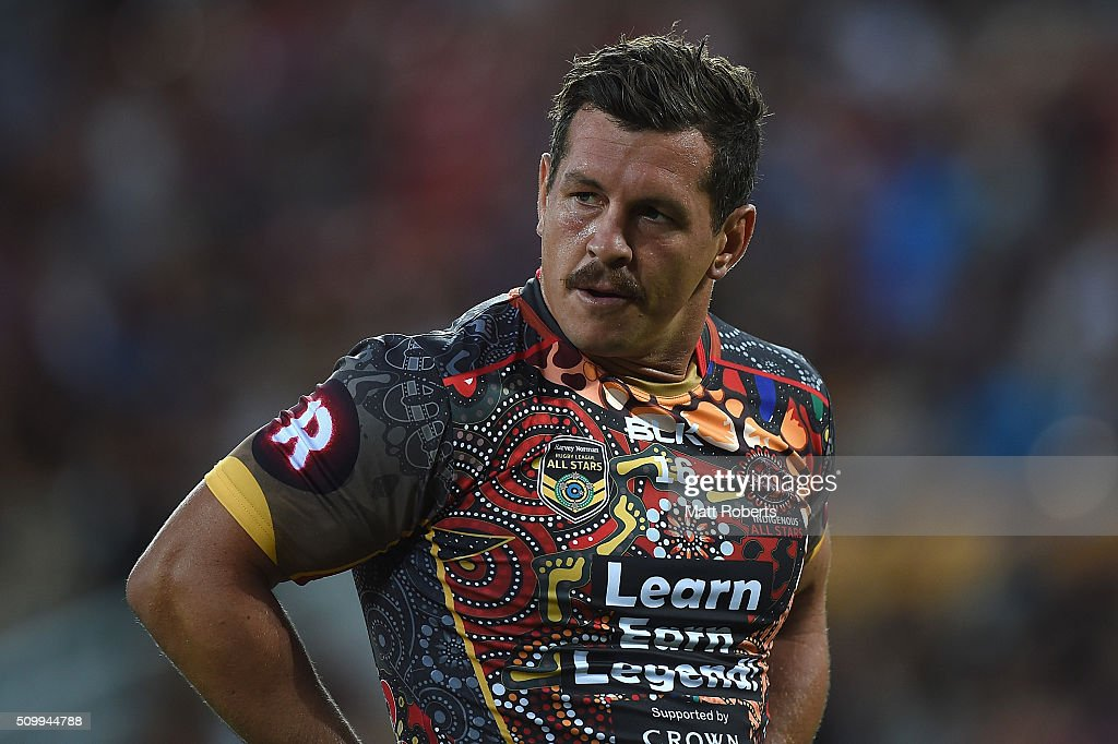 <a gi-track='captionPersonalityLinkClicked' href=/galleries/search?phrase=Greg+Bird+-+Rugby+Player&family=editorial&specificpeople=14983686 ng-click='$event.stopPropagation()'>Greg Bird</a> of the Indigenous All Stars looks on before the NRL match between the Indigenous All-Stars and the World All-Stars at Suncorp Stadium on February 13, 2016 in Brisbane, Australia.