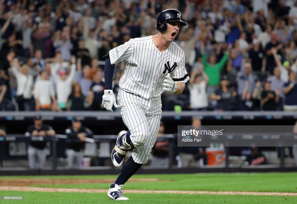 Greg Bird #33 of the New York Yankees celebrates after hitting a solo-homerun during the seventh inning against the Cleveland Indians in game three of the American League Division Series at Yankee Stadium on October 8, 2017 in New York City.