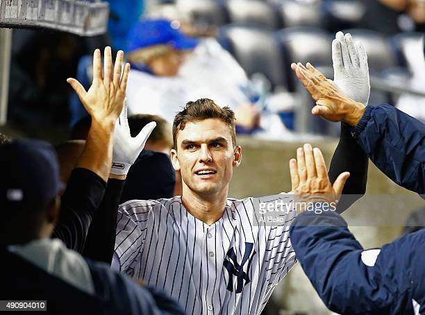 Greg Bird of the New York Yankees celebrates his home run in the seventh inning against Jean Machi of the Boston Red Sox during their game at Yankee...