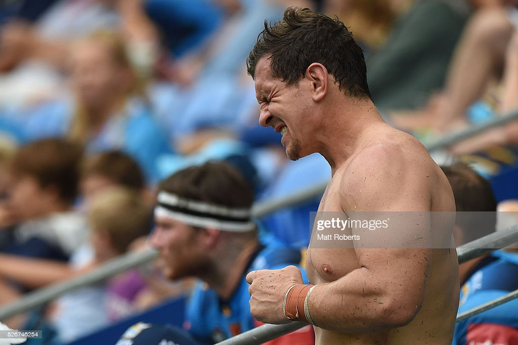 Greg Bird of the Titans grimaces during the round nine NRL match between the Gold Coast Titans and the Melbourne Storm on May 1, 2016 in Gold Coast, Australia.
