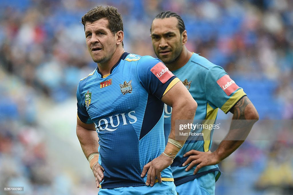 Greg Bird of the Titans looks on before the round nine NRL match between the Gold Coast Titans and the Melbourne Storm on May 1, 2016 in Gold Coast, Australia.