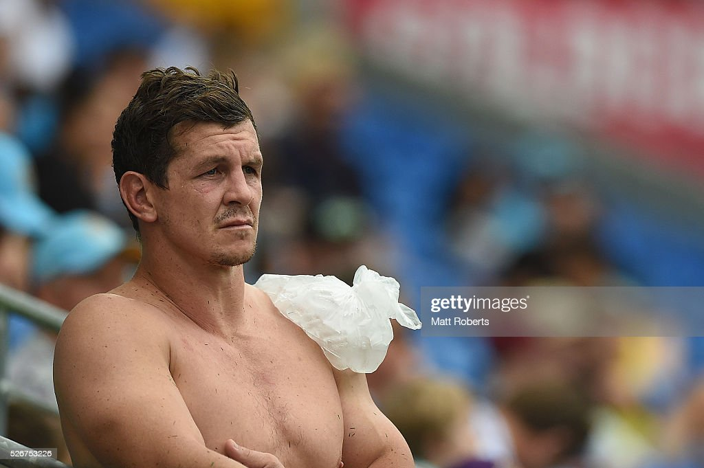 Greg Bird of the Titans looks on with ice on his shoulder during the round nine NRL match between the Gold Coast Titans and the Melbourne Storm on May 1, 2016 in Gold Coast, Australia.