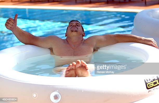 Greg Bird takes an ice bath during a New South Wales Blues State of Origin training session at Novotel Coffs Harbour on June 12 2014 in Coffs Harbour...