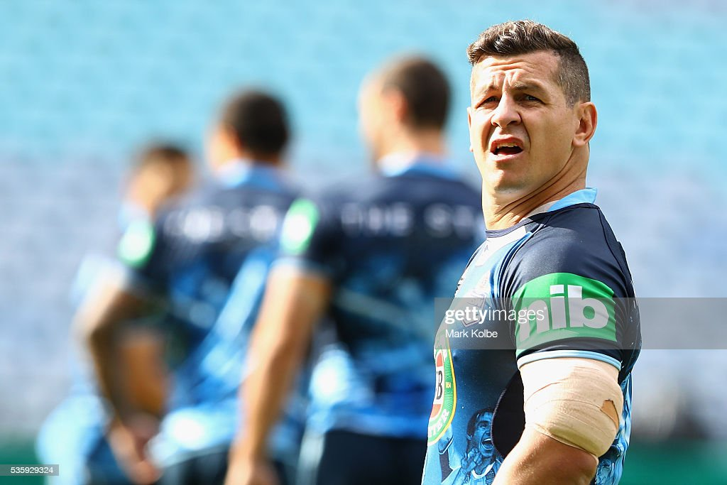 <a gi-track='captionPersonalityLinkClicked' href=/galleries/search?phrase=Greg+Bird+-+Rugby+Player&family=editorial&specificpeople=14983686 ng-click='$event.stopPropagation()'>Greg Bird</a> watches on during the New South Wales State of Origin captain's run at ANZ Stadium on May 31, 2016 in Sydney, Australia.