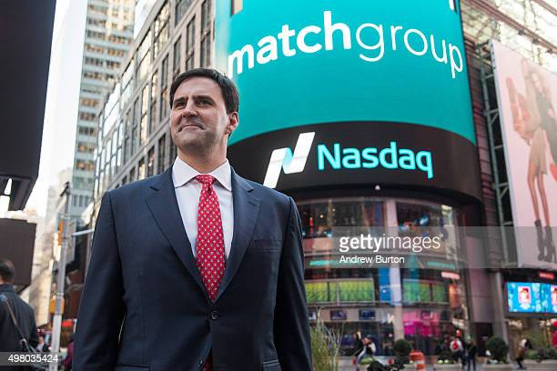Greg Blatt chairmain of Match Group poses for a photo in Times Square after the company's initial public offering at the NASDAQ stock exchange on...