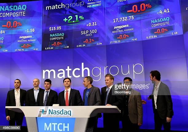 Greg Blatt chairman of Match Group Inc center Sam Yagan chief executive officer of Match center right and Sean Rad chief executive officer of Tinder...