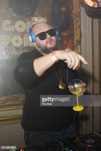 Greg Boust performs during 'Tonic Follies' Villa Schweppes Before Cannes Festival Party at Foundation Mona Bismarck on April 20 2017 in Paris France