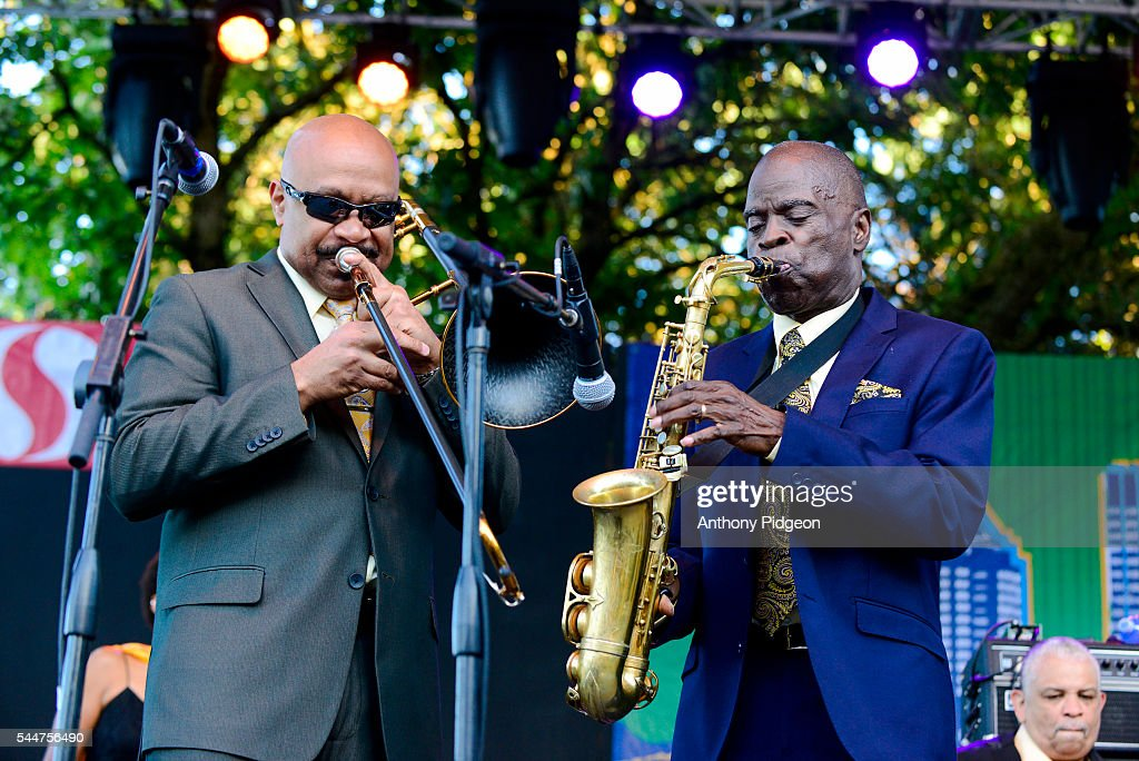 Greg Boyer and Maceo Parker perform onstage at Waterfront Blues Festival at Tom McCall Waterfront Park on July 1 2016 in Portland Oregon