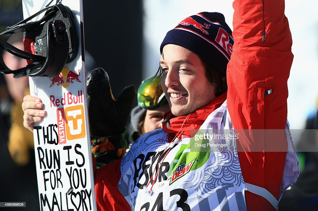 Greg Bretz celebrates after winning the men's snowboard superpipe final at the Dew Tour iON Mountain Championships on December 14, 2013 in Breckenridge, Colorado.