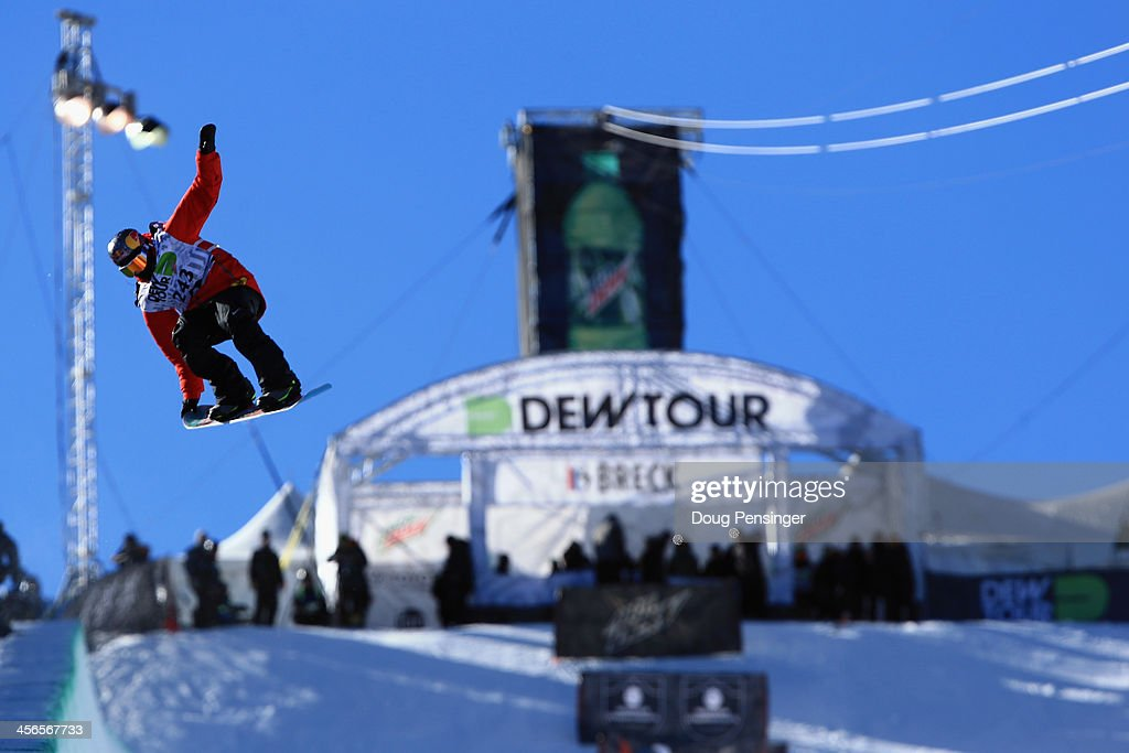 Greg Bretz en route to winning the men's snowboard superpipe final at the Dew Tour iON Mountain Championships on December 14, 2013 in Breckenridge, Colorado.