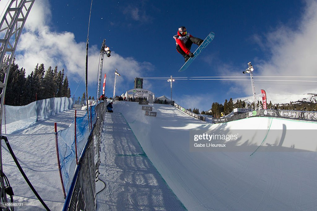 Greg Bretz on his way to a 1st place finish in the 2013 Dew Tour half-pipe finals on December 14, 2013 in Breckenridge, Colorado.