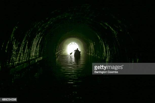 Greg Brookes tests out safety measures for a UK first as the Canal River Trust prepare to open the milelong Foulridge Tunnel to canoeists From...