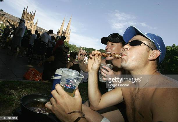 Greg Brown and his partner Shavorne Leek enjoy a Backyard BBQ as Australia celebrates Australia Day at Hyde Park on January 26 2010 in Sydney...