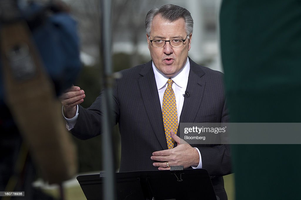 Greg Brown, president and chief executive officer of Motorola Solutions Inc., speaks during a television interview following a meeting with U.S. U.S. President Barack Obama at the White House in Washington, D.C., U.S., on Tuesday, Feb. 5, 2013. U.S. Obama urged Congress to postpone automatic spending cuts scheduled to begin March 1 to avoid 'real and lasting impacts' on U.S. economic growth. Photographer: Andrew Harrer/Bloomberg via Getty Images