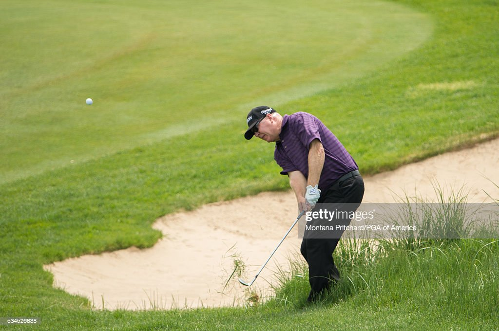 Greg Bruckner hits his shot on the seventh hole during the first round for the 77th Senior PGA Championship presented by KitchenAid held at Harbor Shores Golf Club on May 26, 2016 in Benton Harbor, Michigan.