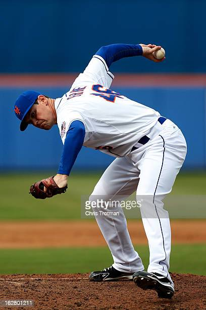Greg Burke of the New York Mets delivers a pitch against the St Louis Cardinals at Tradition Field on February 27 2013 in Port St Lucie Florida