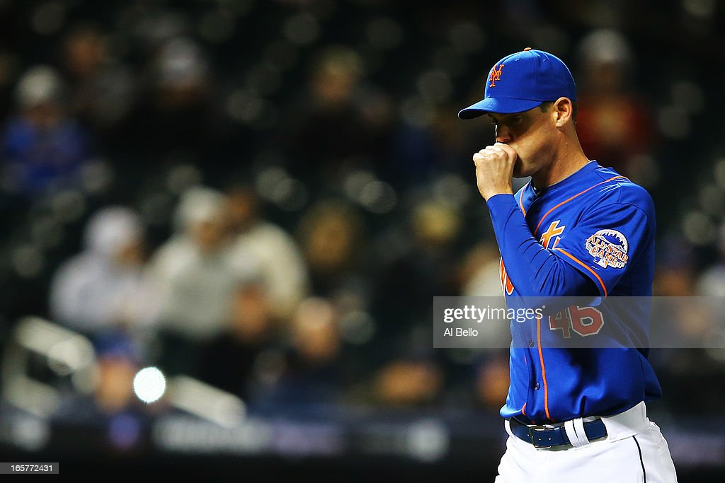 Greg Burke #46 of the New York Mets leaves the game after giving up two runs in the seventh inning against the Miami Marlins during their game on April 5, 2013 at Citi Field in the Flushing neighborhood of the Queens borough of New York City.