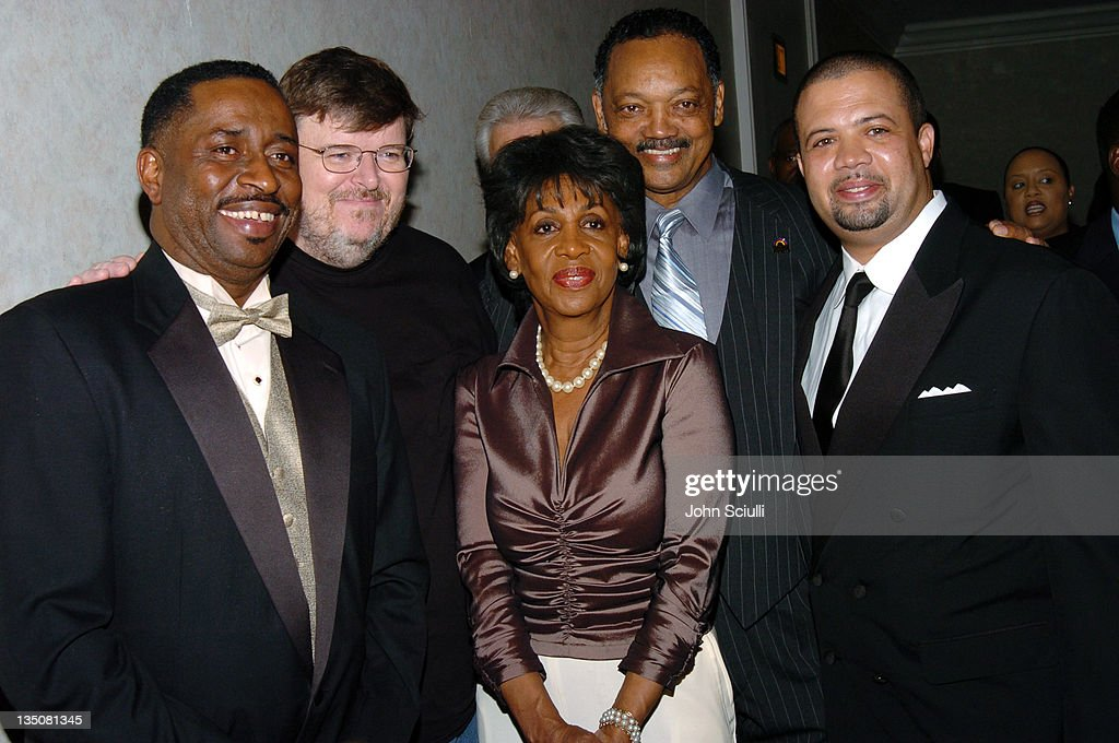 Greg Calhoun, Michael Moore, Congresswoman <a gi-track='captionPersonalityLinkClicked' href=/galleries/search?phrase=Maxine+Waters&family=editorial&specificpeople=220525 ng-click='$event.stopPropagation()'>Maxine Waters</a>, Rev. Jesse Jackson and Stefan Gresham