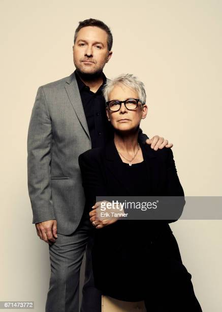 Greg Campbell and Jamie Lee Curtis from 'Hondros' pose at the 2017 Tribeca Film Festival portrait studio on April 21 2017 in New York City