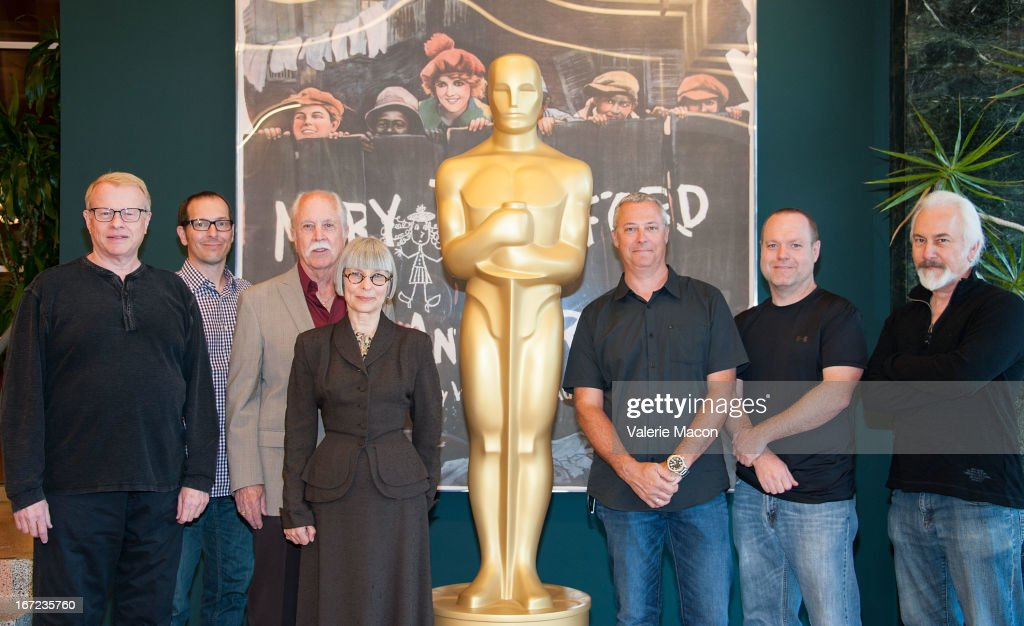 Greg Cannom, Edson Williams, Leonard Engelman, Lois Burwell, Hal Hickel and Steve Preeg attend The Academy Of Motion Picture Arts And Sciences' VFX Convergence: Blending Makeup With Digital Arts In Film at Linwood Dunn Theater at the Pickford Center for Motion Study on April 22, 2013 in Hollywood, California.