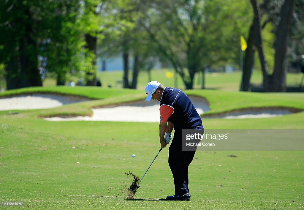 Greg Chalmers of Australia hits his second shot on the second hole during the final round of the Chitimacha Louisiana Open presented by NACHER held...