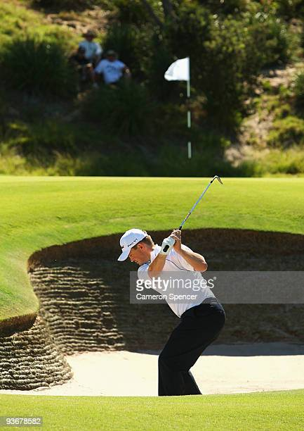 Greg Chalmers of Australia plays a bunker shot during the first round of the 2009 Australian Open at New South Wales Golf Club on December 3 2009 in...