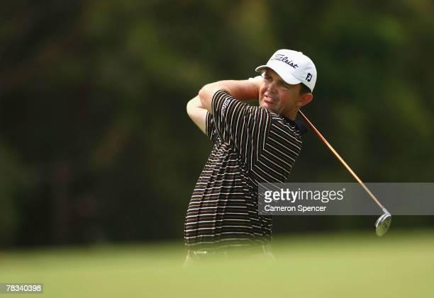 Greg Chalmers of Australia plays a fairway shot during the final round of the Australian PGA Championship at the Hyatt Regency Resort on December 9...