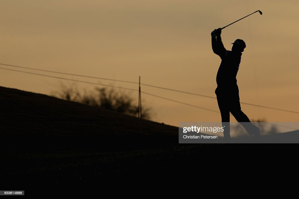 Greg Chalmers of Australia plays his second shot on the ninth hole during the first round of the Waste Management Phoenix Open at TPC Scottsdale on February 2, 2017 in Scottsdale, Arizona.