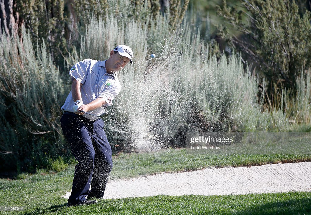 Greg Chalmers of Australia plays his shot out of the bunker on the seventh hole during the second round of the Barracuda Championship at the Montreux Golf and Country Club on July 1, 2016 in Reno, Nevada.