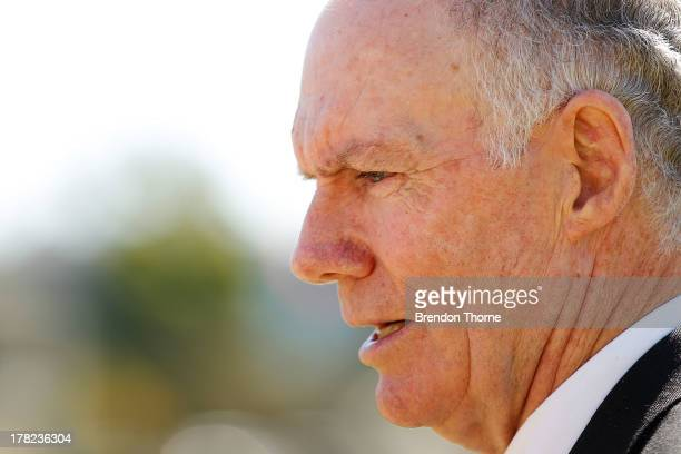 Greg Chappell addresses the media during a Cricket Australia media announcement at Blacktown Sportspark on August 28 2013 in Bankstown Australia