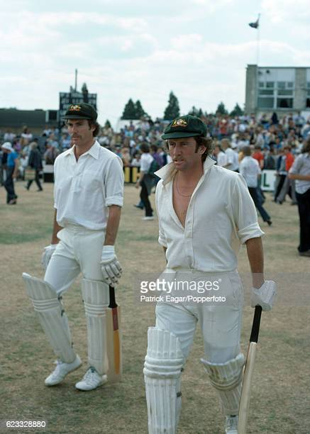 Greg Chappell and Ian Chappell of Australia walk out to bat during the tour match between Hampshire and Australians at Southampton England 30th June...