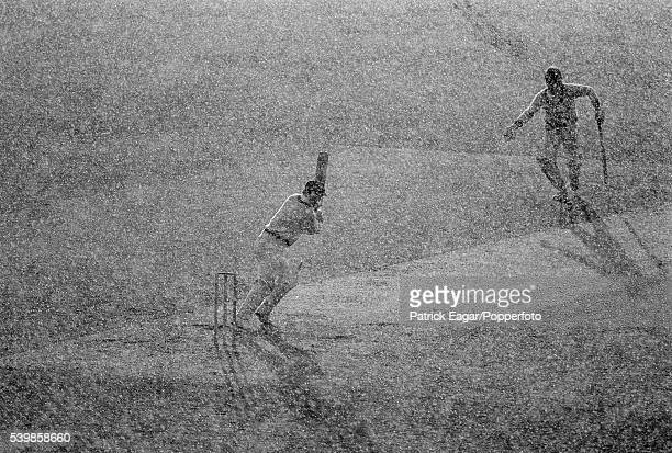 Greg Chappell of Australia batting in the rain during his innings of 125 not out in the 3rd Prudential Trophy One Day International between England...
