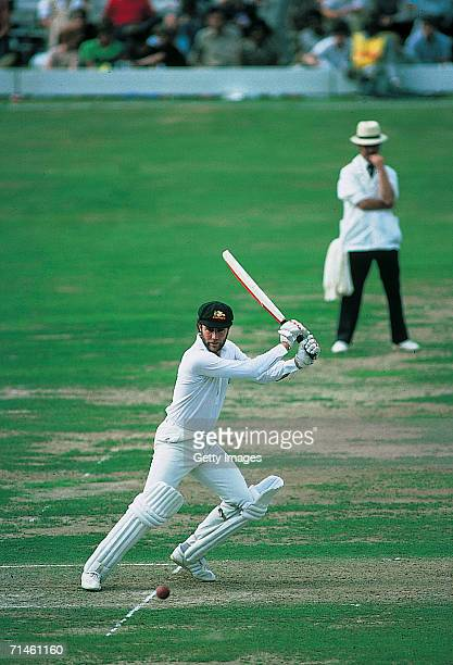 Greg Chappell of Australia hits the ball during a test match played in Adelaide Australia
