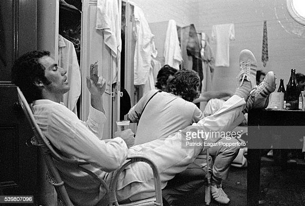 Greg Chappell of Australia relaxes in the dressing room after Australia secured the series win with victory in the 4th Ashes Test match between...