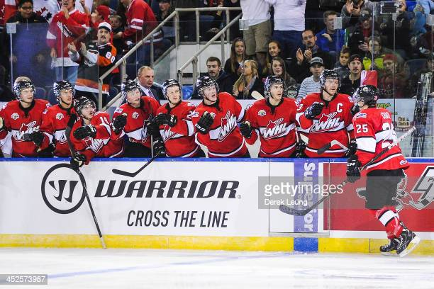 Greg Chase of the WHL AllStars celebrates with the bench after a goal against team Russia during Game Six of the WHLRussia Subway Super Series on...