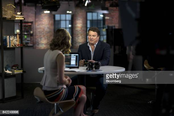 Greg Clark chief executive officer of Symantec Corp speaks during a Bloomberg Technology interview in San Francisco California US on Wednesday Aug 30...