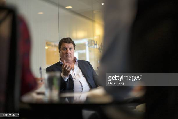 Greg Clark chief executive officer of Symantec Corp speaks during an interview in San Francisco California US on Wednesday Aug 30 2017 Clark...