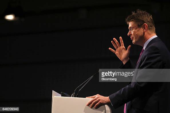Greg Clark UK business secretary gestures as he speaks during the 2017 British Chamber of Commerce annual conference in London UK on Tuesday Feb 28...