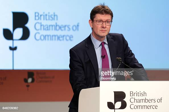 Greg Clark UK business secretary pauses during the 2017 British Chamber of Commerce annual conference in London UK on Tuesday Feb 28 2017 UK Prime...