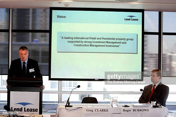 Greg Clarke Group Chief Executive of LendLease and Roger Burrows Chief Financial Officer showing the June 2005 Full Year Results for LendLease in...