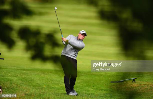 Greg Davies of South Cerney Golf Course plays his second shot on the 1st fairway during Day Two of the Galvin Green PGA Assistants' Championship at...