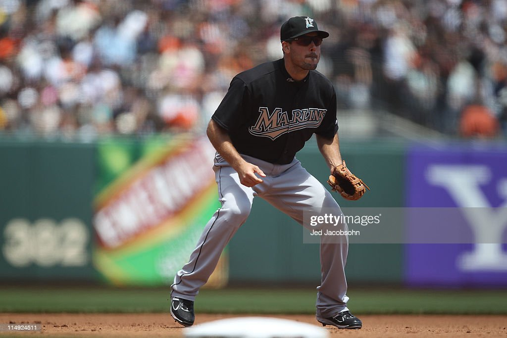 Greg Dobbs #13 of Florida Marlins plays at third base against the San Francisco Giants during an MLB game at AT&T Park on May 26, 2011 in San Francisco, California.