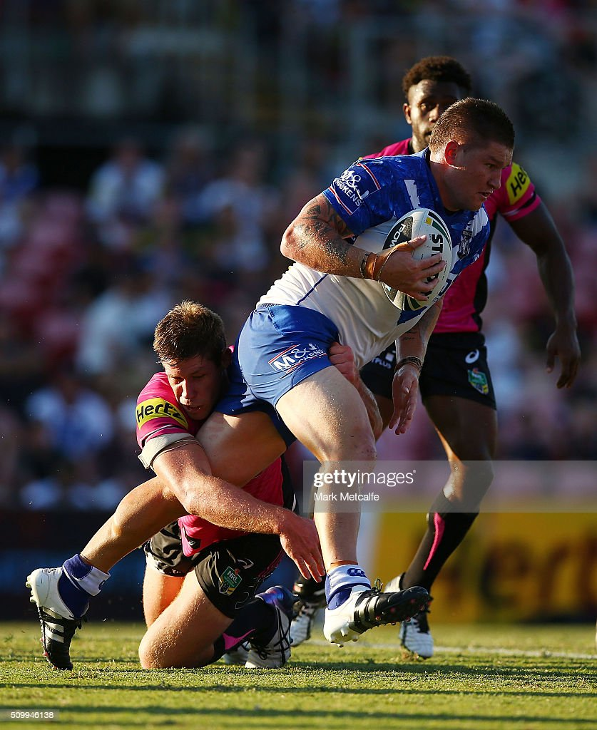 Greg Eastwood of the Bulldogs is tackled during the NRL Trial match between the Canterbury Bulldogs and the Penrith Panthers at Pepper Stadium on February 13, 2016 in Sydney, Australia.
