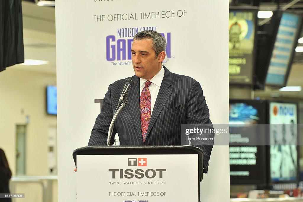 Greg Economou, Executive Vice President of Revenue Performance for MSG Sports speaks at Tissot Swiss Watches Unveil The Brand's New Lobby Clocks on October 25, 2012 in New York City.