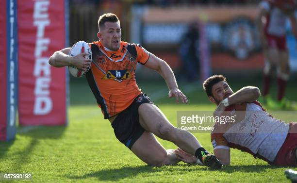 Greg Eden of Castleford scores a second half try during the Betfred Super League match between Castleford Tigers and Catalans Dragons at Wheldon Road...