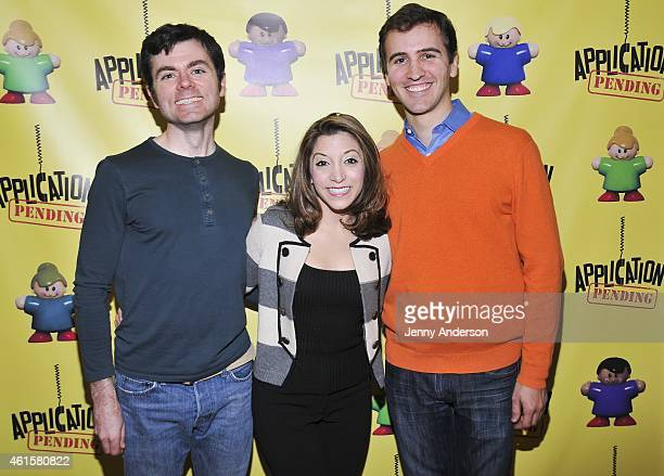 Greg Edwards Christina Bianco and Director Andy Sandberg attend 'Application Pending' Press Preview at Primary Stages Studios on January 15 2015 in...