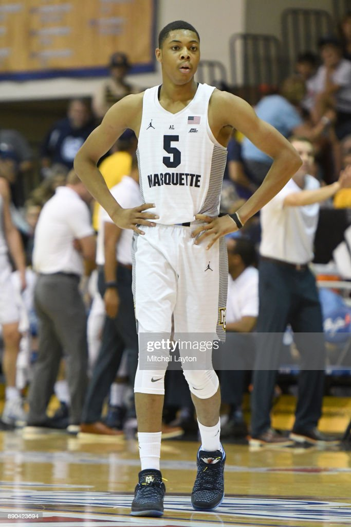 Greg Elliott #5 of the Marquette Golden Eagles looks on during a consultation college basketball game at the Maui Invitational against the LSU Tigers at the Lahaina Civic Center on November 22, 2017 in Lahaina, Hawaii. The Golden Eagles won 94-84.